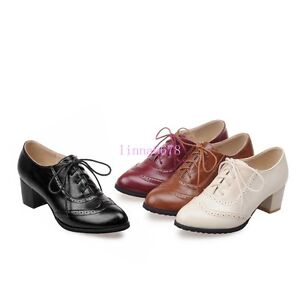 f40a9705d8 Ladies Mid Chunky Heel Lace Up Brogue Leather Flats Pumps Wing Tips ...