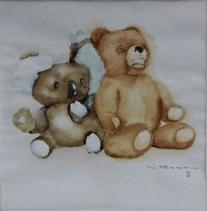 Walter-Barth-Teddybaeren-Aquarell
