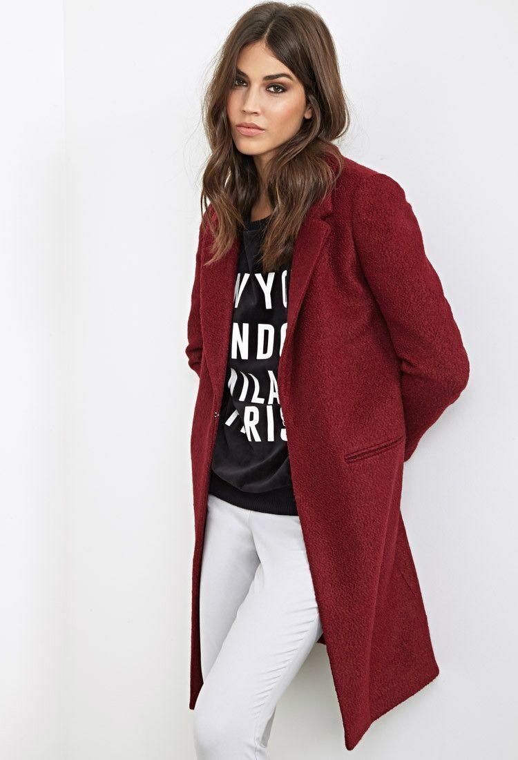 Forever 21 Wool Burgundy Bouclé Overcoat Medium M