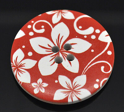 5 Wooden LARGE Painted Flower Buttons 40mm Sewing scrap book quilting Craft