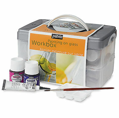 PEBEO VITREA 160 WORKBOX PAINTING ON GLASS STARTER SET 10 COLOURS BRUSH OUTLINER