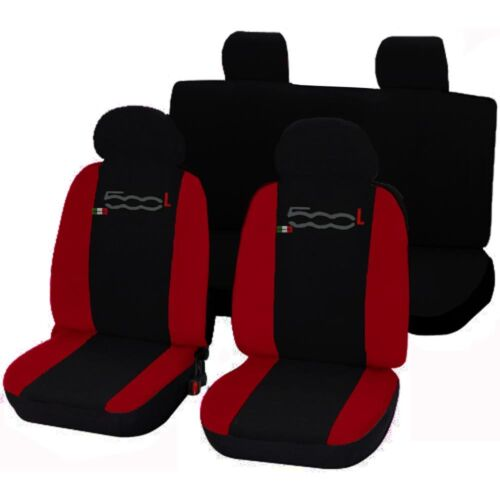 SEAT COVERS FOR FIAT 500L LINERS CAR COVER SEATS TWO-COLOURED BLACK RED
