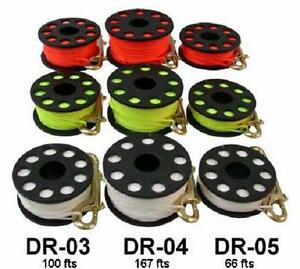 Red-Hat-Diving-50metre-finger-reel-with-double-ended-boltsnap-white-or-yellow