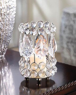 Crystal clear glass prism gem diamond bling Chandelier votive Candle Holder