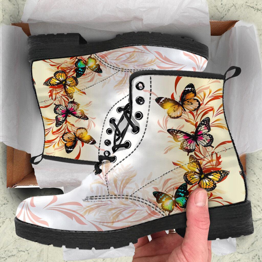 Zapatos de Cuero patrón de mariposas múltiples botas Mujer, Mujer, Mujer, Botines Vegano Mariposa  ahorra 50% -75% de descuento