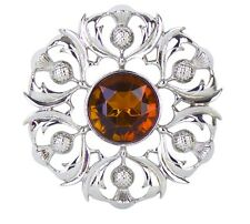 Scottish Thistle Plaid Brooch with Cairngorm Centre Stone