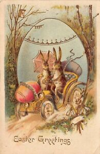 Gold-Easter-Postcard-Bunny-Rabbits-Driving-Automobile-Colored-Eggs-126363