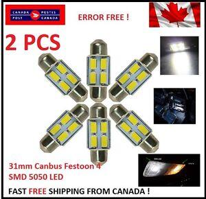 2-X-CANBUS-White-31MM-4-SMD-LED-5050-Car-Festoon-Interior-Light-Bulbs-Dome