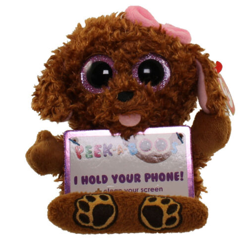 TY Beanie Boos Peek A Boos 4 ZELDA the Poddle Dog Phone Holder with Cleaner
