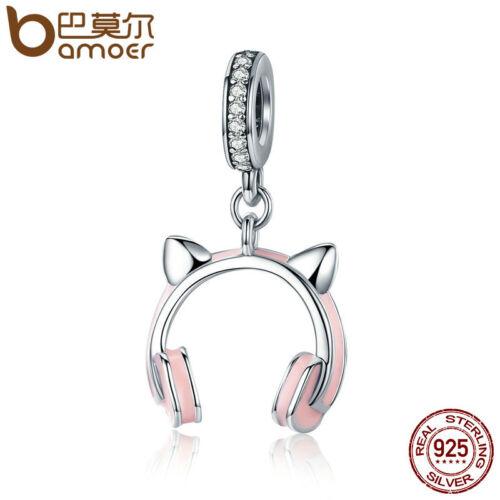Bamoer 925 Sterling Silver Charm avec émail chat écouteur dangle /& CZ Pour Bracelet