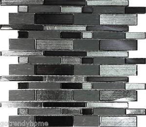 metallic silver black glass stone mosaic tile wall kitchen backsplash
