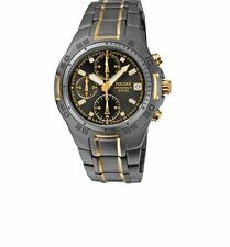 Pulsar Men's Black Two-Tone Strap Chronograph ion Plated  Watch PF8413X1
