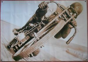 Vintage Harley Motorcycle Track Racer Large Life Size Banner / Poster 36x55 New