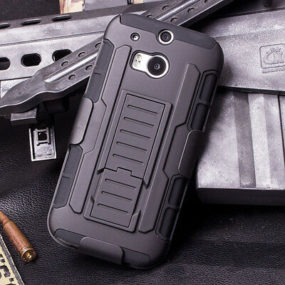 Shockproof Rugged Armor Hybrid Hard Case Stand Protective Cover Holster For HTC