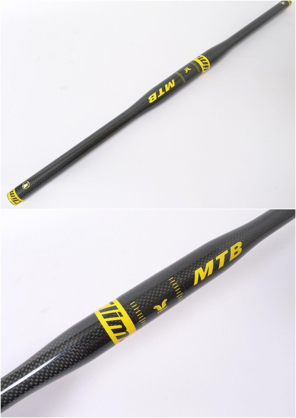 Climax Cycling Mountain Road Bike gloss Carbon Flat Bar Handlebar 31.8mm Yellow