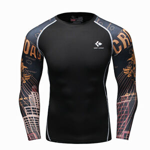 8ee2adad3b4 Details about Black Gold Skull Compression Tight Shirt Top Base Layer Long  Sleeve For Sports
