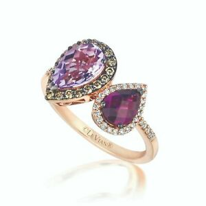 LeVian 14K Rose Gold Pink Amethyst Rhodolite Garnet Brown Diamond Halo Ring