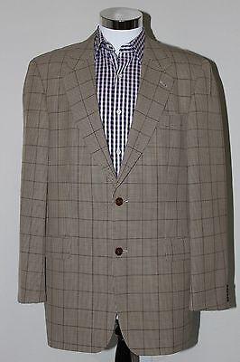 HUGO BOSS APOLLON  Sport Coat Jacket Blazer Wool Brown Windowpane Sz 42T/L