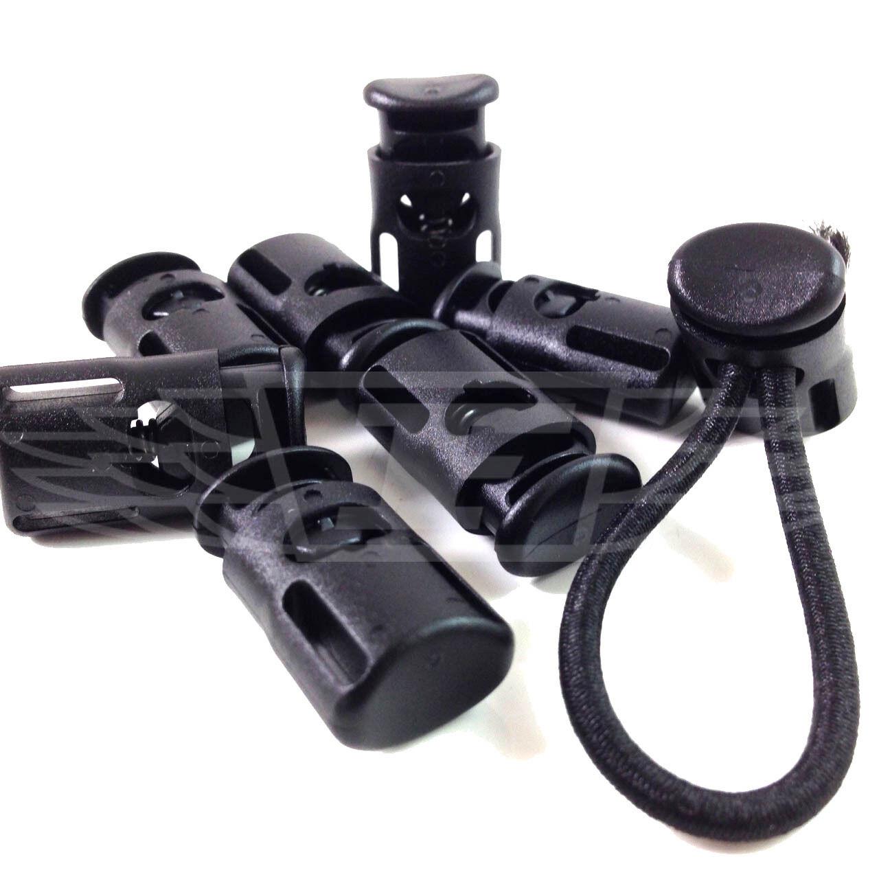 Cordon antichoc extrémités bouchons, plastique noir bungee élastique élastique élastique arrête de double trous, crochets 36e477