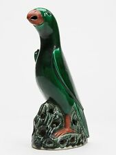 ANTIQUE CHINESE PORCELAIN GREEN GLAZED PARROT FIGURE 19TH C