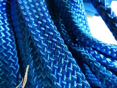 "Hollow/flat Braid Polyester Rope .blue.us Made Boat Parts 100% True 1"" X 66 Ft"