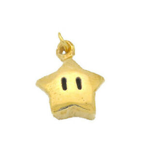 COOL-Super-Mario-Star-power-24kt-gold-plated-real-Sterling-silver-925-jewelry-ch