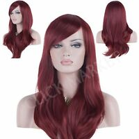 Long Wig Wine Red Fashion Full Curly Wavy Human Hair Glamour Heat Resistant Wigs