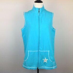 Quacker-Factory-Vest-Womens-Small-Oversize-Blue-Star-Embellished-Zip