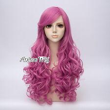 65CM Lolita Women Dark Pink Long Curly Cosplay Party Hair Wig Heat Resistant