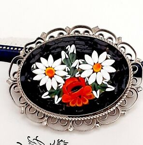 Beautiful Vintage 1950s Italian White Flower Micro Mosaic Brooch Gift Boxed