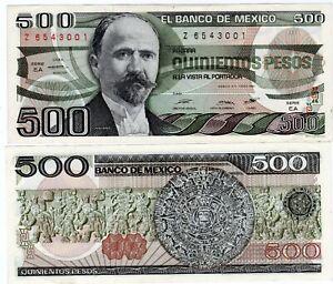 Mexique-MEXICO-Billet-500-PESOS-1984-P78-Z-Madero-AZTEC-Calendrier-NEUF-UNC