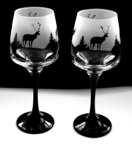 Highland scene Wine Glasses black stem...Boxed New etched Scottish stag