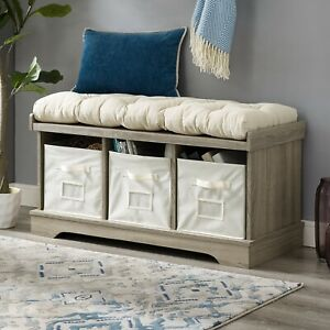 Swell Details About Washed Gray Storage Bench Tufted Cushion 3 Bins Chest Seat Farmhouse Entryway Machost Co Dining Chair Design Ideas Machostcouk