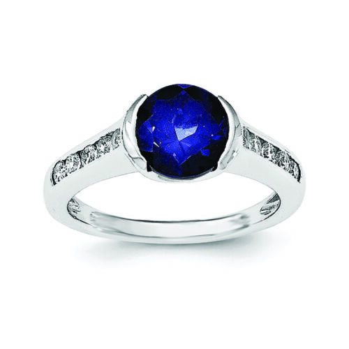 Size 6 MSRP $140 Details about  /.925 Sterling Silver Synthetic Blue Sapphire /& CZ Bezel Ring