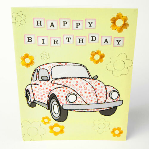 HAPPY BIRTHDAY GREETINGS CARD Beetle Car #036 CS05 Modern Lovely Embroidered