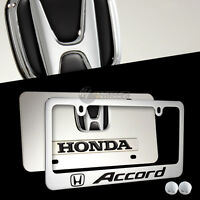 Black Honda Accord Stainless Steel License Plate Frame W/ Caps-2pcs Front & Back