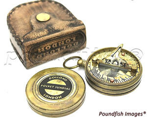 Dolland-London-Brass-Sundial-Compass-amp-Leather-Case
