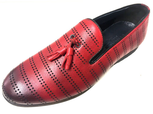 Neue Red Loafer Herrenschuhe Rot Slipper Leder Mocassin Mokassin Lochdesign Mode TrOqEr