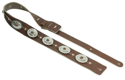 Brown Saddle Conch Guitar Strap Genuine Leather Guitar//Bass Strap USA Handmade