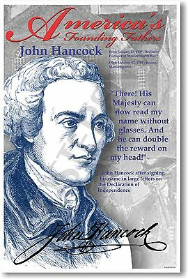 John Hancock - America's Founding Fathers - Social Studies US History POSTER