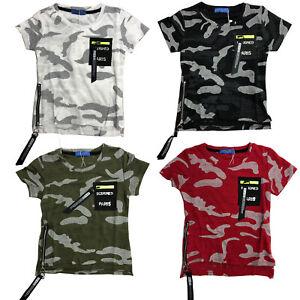 Ragazzi-mimetica-esercito-T-Shirt-Mimetica-Manica-Corta-Cotone-per-Bambini-Top-Zip-Fashion-Tee