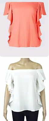Ex M/&S Off Shoulder Ruffle Bardot Top Coral White Size 6 8 10 12  RRP £19.95