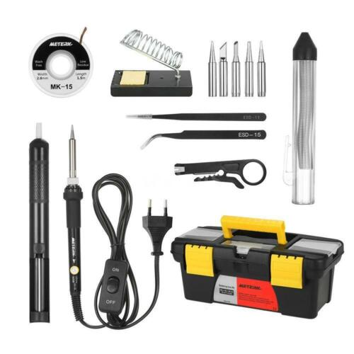 19PCS 60W Electric Adjustable Temperature Welding Soldering Iron Tool Kit USAT