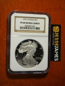 1992-S-PROOF-SILVER-EAGLE-NGC-PF69-ULTRA-CAMEO-BROWN-LABEL-SEE-MY-OTHERS