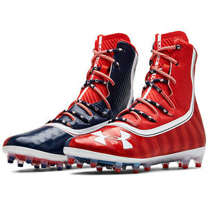 UNDER-ARMOUR-UA-HIGHLIGHT-MC-LE-Mens-Football-Cleats-Red-Blue-USA-Flag-PICK-SIZE