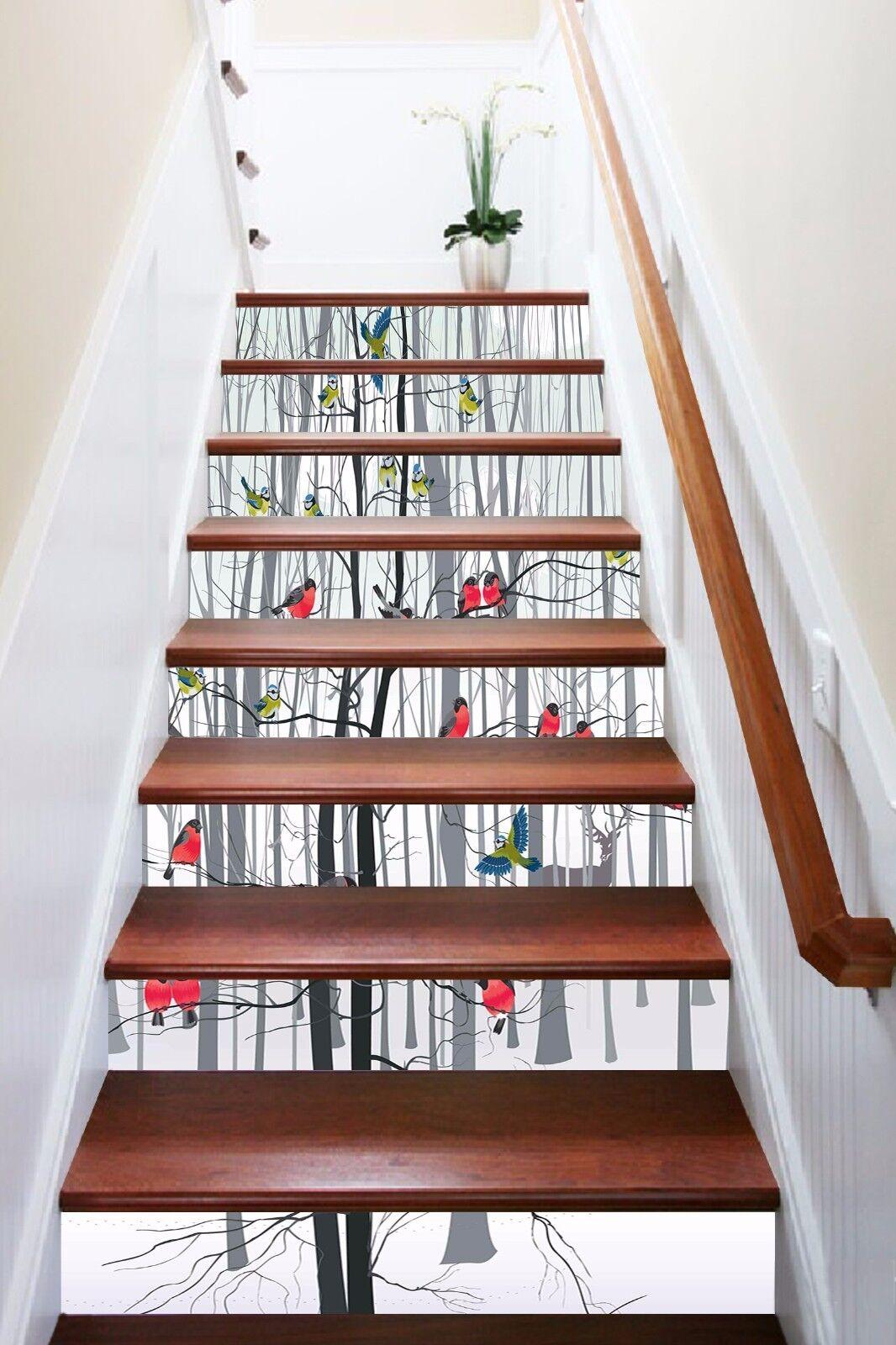 3D Farbe Vogel 957 Stair Risers Dekoration Fototapete Vinyl Aufkleber Tapete DE