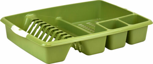 Large Soft Touch Handle Plastic Dish Drainer Rack with Cutlery Holder