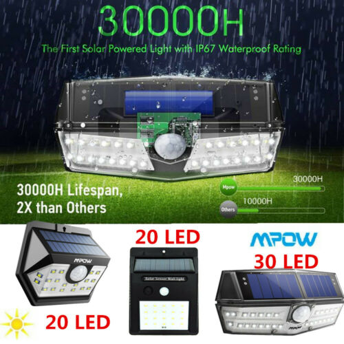Mpow 20 30 LED Solar Power Wall Light Motion Sensor Garden Outdoor Security Lamp