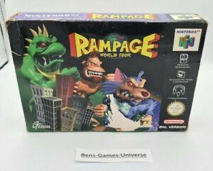 Nintendo 64 n64 juego Rampage World Tour con embalaje original y guía EUR
