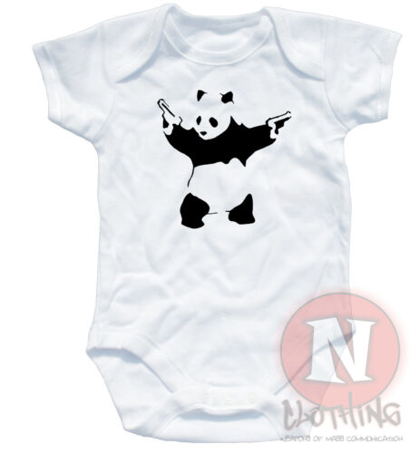 Naughtees Clothing Babygrow Banksy Pandamonium Print Cotton Panda Babysuit New